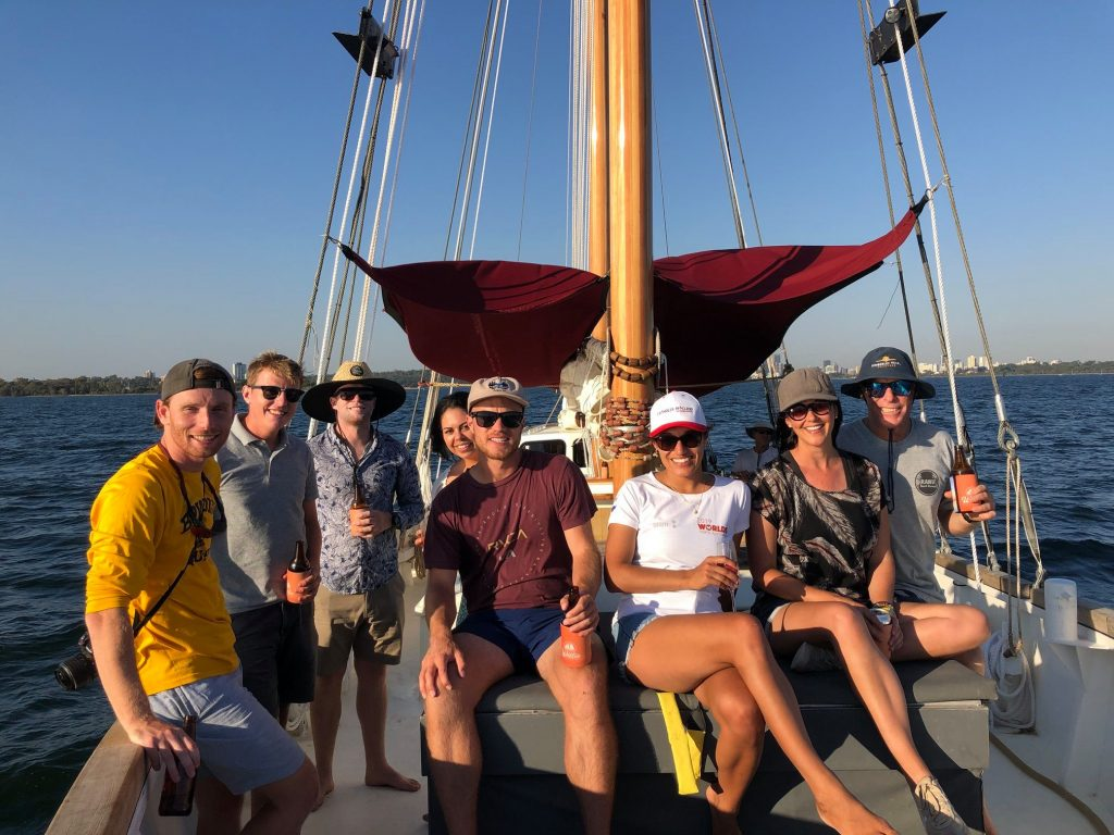 Group picture on a boat